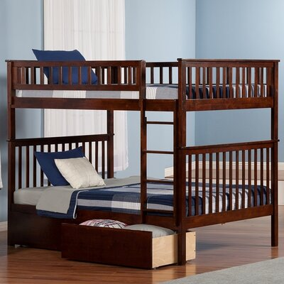 Shyann Full over Full Bunk Bed with Storage Finish: Antique Walnut