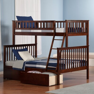 Shyann Twin over Full Bunk Bed with Storage Finish: Antique Walnut