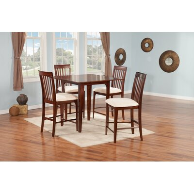 Poulos 5 Piece Counter Height Dining Chair Table Color: Antique Walnut/White, Chair Color: White