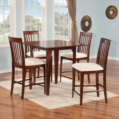 Montreal 5 Piece Counter Height Pub Table Set Finish: Antique Walnut