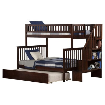 Shyann Twin Over Full Bunk Bed with Trundle Color: Antique Walnut