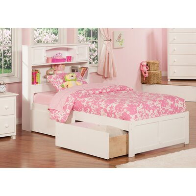 Rottman Extra Long Twin Platform Bed with Storage Color: White