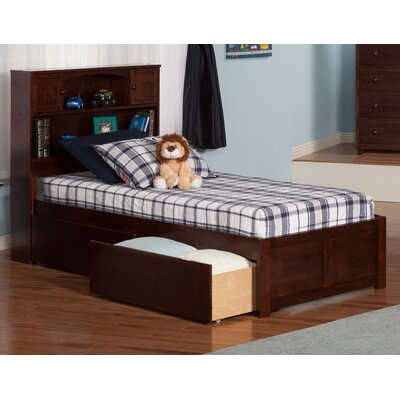 Newport Extra Long Twin Platform Bed with Storage Finish: Antique Walnut