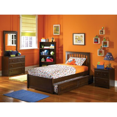 Image of Brooklyn Platform Bed with Flat Panel Footboard and Trundle Size: Twin, Finish: Antique Walnut (FY2830_6000529_7030245)