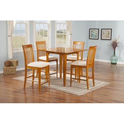 Poulos 5 Piece Counter Height Dining Chair Table Color: Caramel Latte/White, Chair Color: White