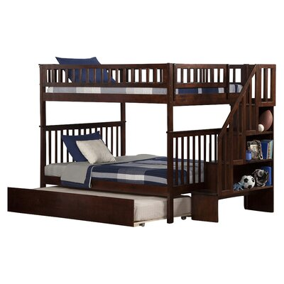Shyann Full over Full Bunk Bed with Trundle Finish: Antique Walnut