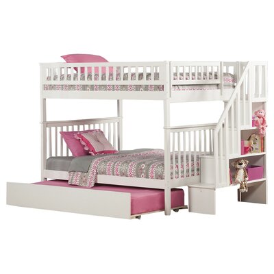 Shyann Full over Full Bunk Bed with Trundle Color: White