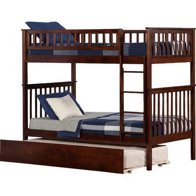Shyann Twin over Twin Bunk Bed with Trundle Finish: Antique Walnut