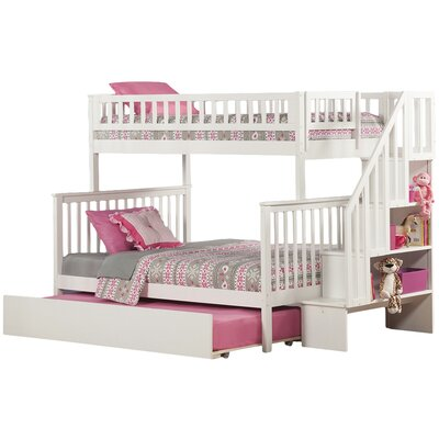 Shyann Twin Over Full with Twin Trundle Finish: White