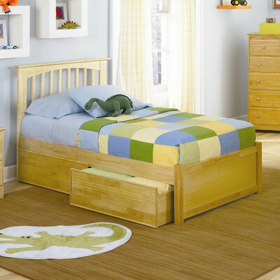 Atlantic Brooklyn Platform Bed with Flat Panel Footboard in Natural Maple - Size: Full