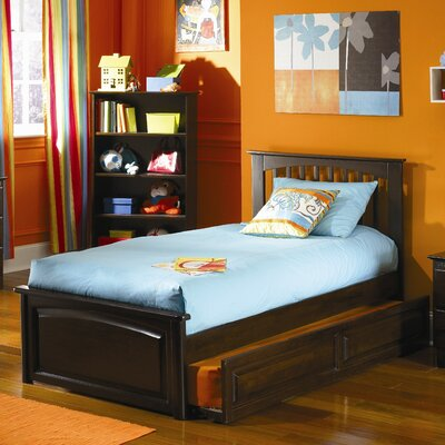 Cheap Brooklyn Platform Bed with Raised Panel Footboard and Trundle in Antique Walnut Size: Full (FY2832_6000536)