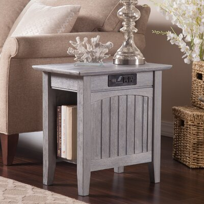 Glenni Rectangular Wood End Table with Storage