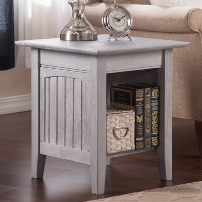 Glenni Solid Wood End Table with Storage