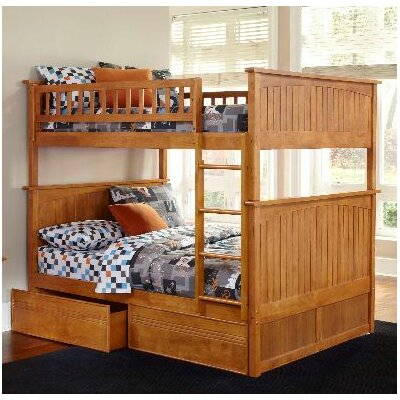 Atlantic Nantucket Bunk Bed with Flat Panel Drawers - Configuration: Full over Full, Finish: Caramel Latte at Sears.com