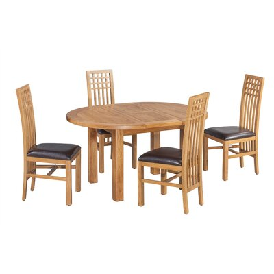 Uriah 5 Piece Extendable Dining Set Color: Light Dark Oak