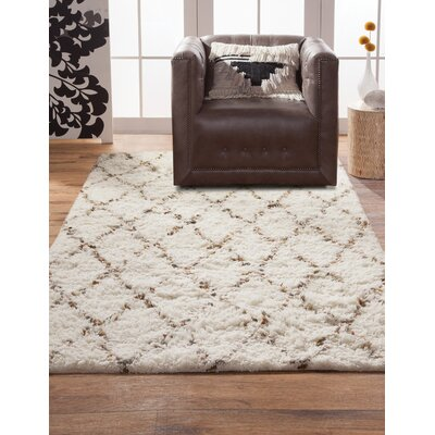 Louisville Moroccan Hand-Woven White/Gold Area Rug Rug Size: 5 x 8