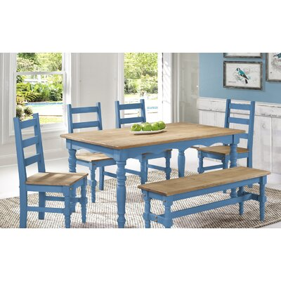 Pinard Solid Wood Dining Set Finish: Blue Wash