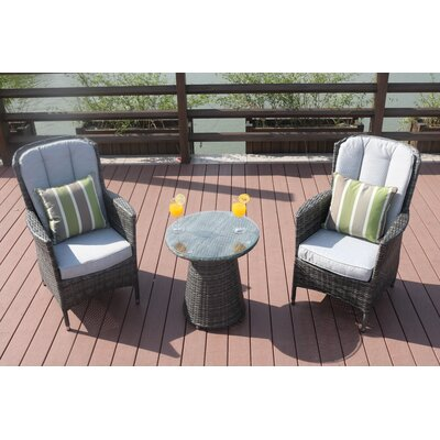 Chartres 3 Piece Bistro Set with Cushions