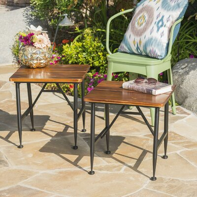 Frankston Outdoor Wood Accent Table (Set of 2)