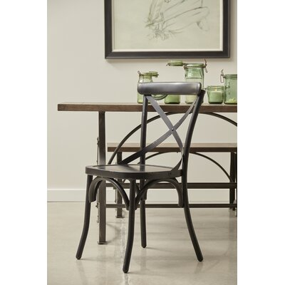 Bendigo Distressed Antique Metal Dining Chair Finish: Black