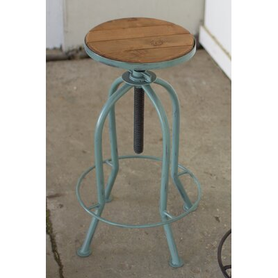 Haynes Adjustable Height Bar Stool Finish: Blue
