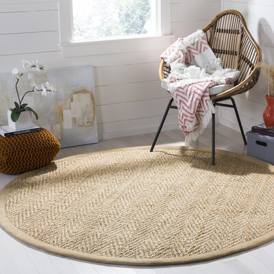 Claudette Fiber Hand-Woven Natural Area Rug Rug Size: Round 6