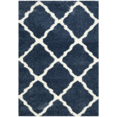 Macungie Blue / Ivory Indoor Area Rug Rug Size: Rectangle 53 x 76