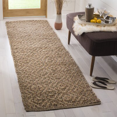 Munhall Fiber Hand-Woven Natural/Brown Area Rug Rug Size: Runner 26 x 8