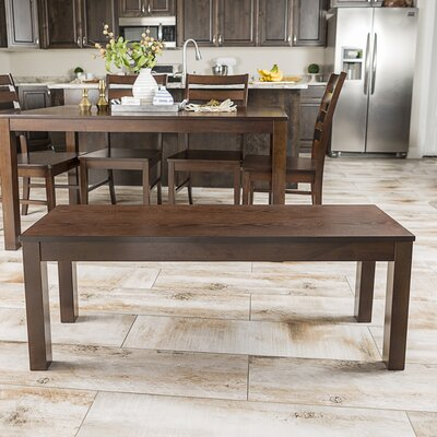 Chetna Simple Wood Dining Bench Color: Walnut