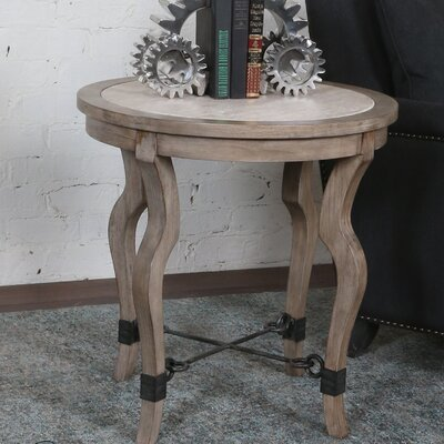 Rhys Travertine End Table