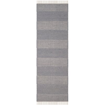 Jermyn Hand-Woven Ivory/Navy Area Rug Rug Size: Runner 23 x 6