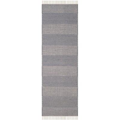 Jermyn Hand-Woven Ivory/Navy Area Rug Rug Size: Runner 23 x 6