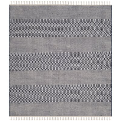 Jermyn Hand-Woven Ivory/Navy Area Rug Rug Size: Square 4