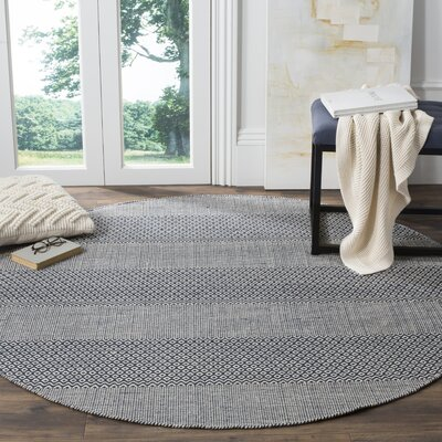 Jermyn Hand-Woven Ivory/Navy Area Rug Rug Size: Rectangle 3 x 5