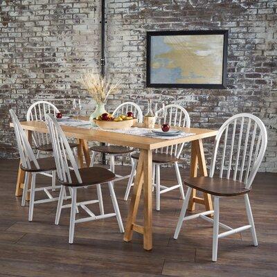 Pilla Cottage Faux Wood 7 Piece Dining Set Table Color: Oak, Chair Color: White/Brown