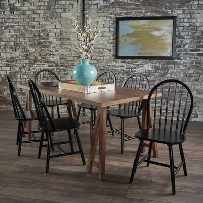 Pilla Cottage Faux Wood 7 Piece Dining Set Table Color: Walnut, Chair Color: Black