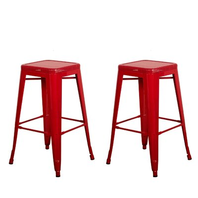 Piccolo Backless Top Mesh 24 Bar Stool Color: Red