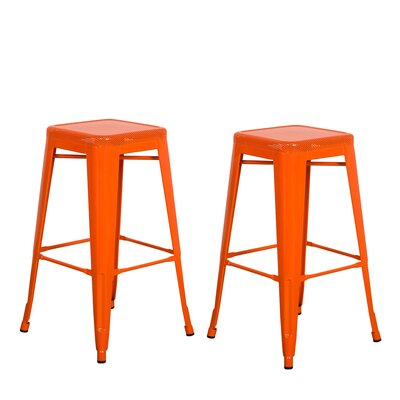 Piccolo Backless Top Mesh 24 Bar Stool Color: Orange