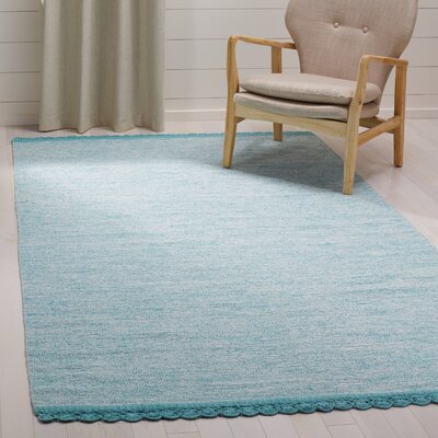 Mohnton Hand-Woven Turquoise/Gray Area Rug Rug Size: Rectangle 5 x 8