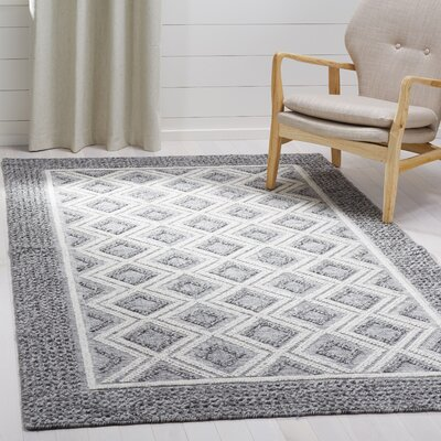 Halperin Hand Woven Wool/Cotton Gray/Ivory Area Rug Rug Size: Rectangle 6 x 9