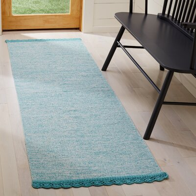 Mohnton Hand-Woven Turquoise/Gray Area Rug Rug Size: Runner 23 x 7
