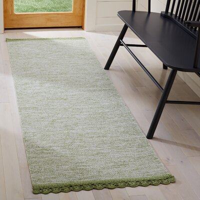 Mohnton Hand-Woven Green/Gray Area Rug Rug Size: Runner 23 x 7