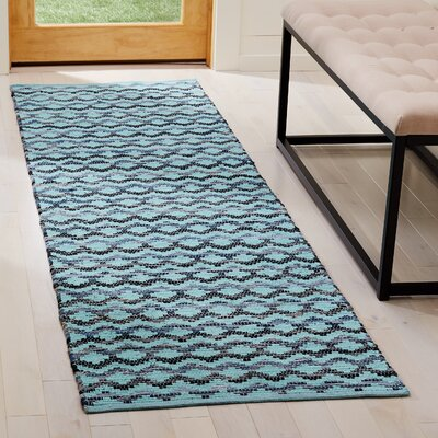 Zolt�n Hand Woven Cotton Turquoise Area Rug Rug Size: Runner 23 x 8