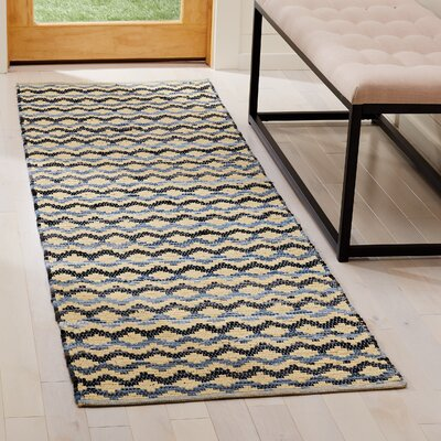 Zolt�n Hand Woven Cotton Yellow/Black Area Rug Rug Size: Runner 23 x 8