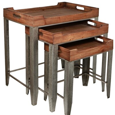 Proclus 3 Piece Side Handles Nesting Table