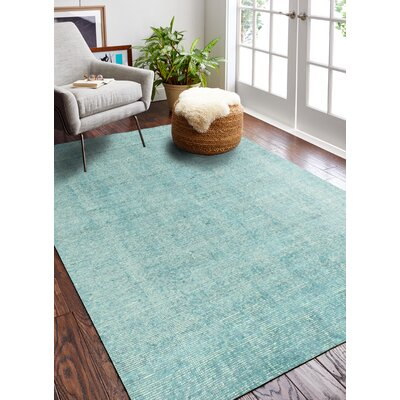 Draine Hand-Woven Cotton Teal Area Rug Rug Size: Runner 26 x 8