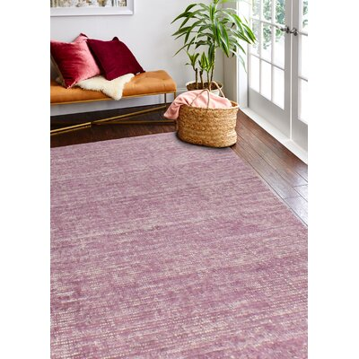 Draine Hand-Woven Cotton Fuchsia Area Rug Rug Size: Rectangle 5 x 76