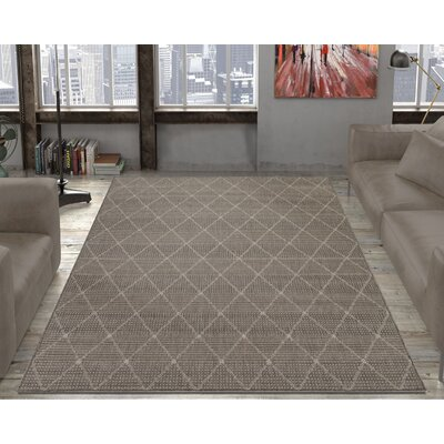 Goodhue Contemporary Trellis Design Gray Outdoor/Indoor Area Rug Rug Size: 53 x 73