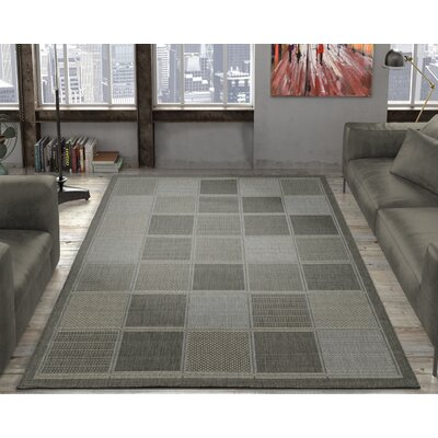 Goodhue Contemporary Boxes Design Gray Outdoor/Indoor Area Rug Rug Size: 53 x 73