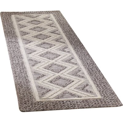 Halperin Hand Woven Wool/Cotton Gray/Ivory Area Rug Rug Size: Runner 23 x 8
